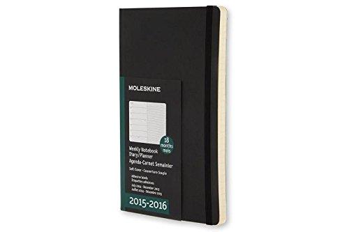 Moleskine 18 Monate Wochen-Notizkalender/Taschenkalender 2015/2016, Pocket, A6, Soft Cover, schwarz