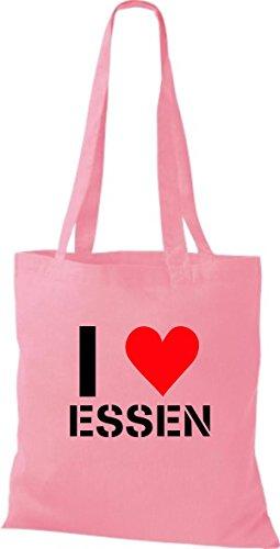 ShirtInStyle Stoffbeutel I LOVE ESSEN Deine Stadt diverse Farbe classic pink