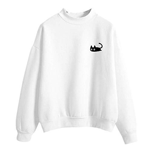 AMUSTER Damen Langarm Casual Sweatshirt Pullover Top Bluse -