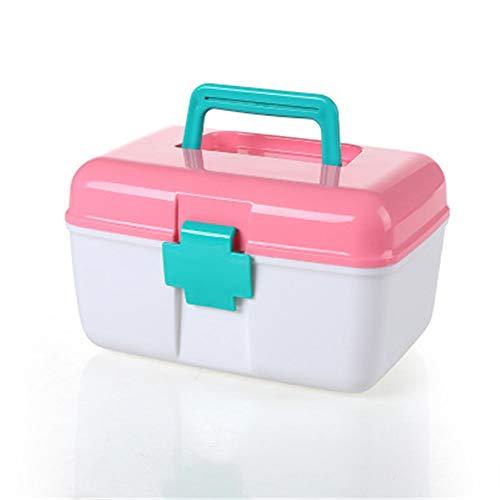 Erste Hilfe kleine Medizin Box täglichen Haushalt Aufbewahrungsbox Mehrzweck Doppel Medizin Box rosa 17,5 * 15,5 * 26 cm ()