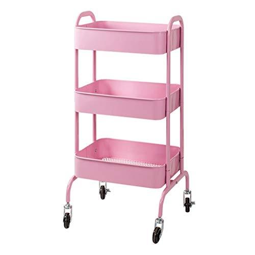 3-lagiges Küchenwagen Multifunktions-Riemenrad Mit Griff Rost Regal Küche Badzubehör Lagerregal Werkzeug Utility Cart (Color : Pink)