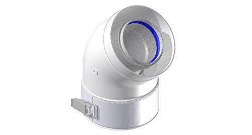 Comptes–Courbe coaxial 60/100à 45° aluminium 1colliers Blanc–pour chaudière conventionnel–cntkccsf45b1