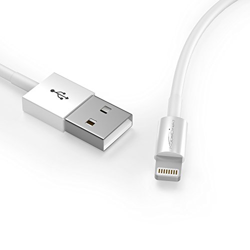 KabelDirekt Ultraslim 0,5m zertifiziertes Lightning USB Ladekabel (Laden & Synchronisieren) für Apple Geräte (z.B. iPhone 5/5s, iPhone 6, iPads der neuesten Generationen, iPad mini) - weiß - 0.5