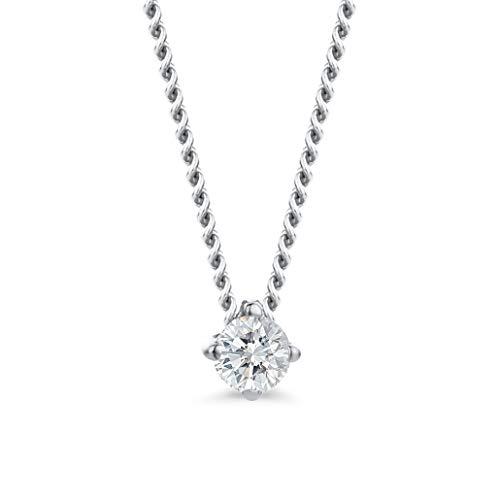 Orovi Damen Diamant Kette Weißgold, Halskette mit Solitär Diamant Anhänger 9 Karat (375) Gold und Diamant Brillanten 0.06 Ct, 45 cm lang Halskette Handgemacht in Italien