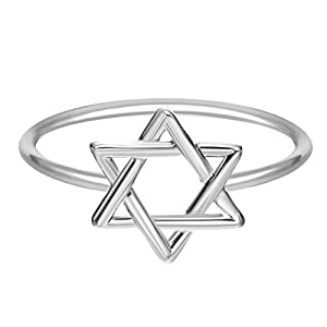 Chandler One Piece Bling Jewelry Hollow Star of David Religious Unique Ring Minimalist Jewelry for Women Girl Valentine's Gift