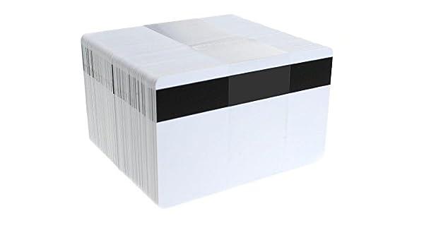 Waizmann.IDeaS 50x Plastikkarten Magnetkarten Blankokarten mit 2750 Oe Hi-Co Magnetstreifen aus PVC wei/ß 86 x 54 x 0,76mm gl/änzend laminiert bedruckbar wei/ß