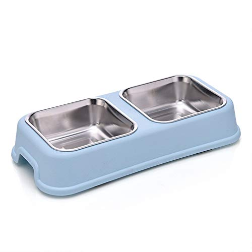UYTGYUHIOJ Square Pet Bowls Removable Stainless Steel Double Dog Bowls Non-Skid No Spill Stand Sturdy Food Water Diners Set for Feeding Dogs Cats -