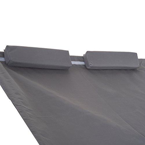 Outsunny Doppelliege Sonnenliege Relaxliege rollbar mit Dach Stahl Grau 200 x 173 x 155cm - 9