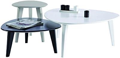 Demeyere 107118 - Set de 3 mesas bajas, color blanco, gris y negro