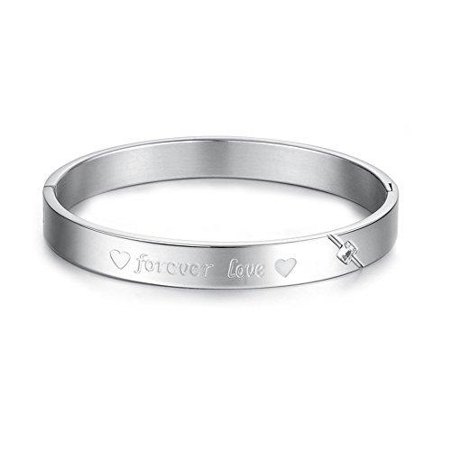 """UM Bijoux Bracelet Couple Amour d'Amitié """"forever love"""" Coeur Manchette Acier Inoxydable pour Homme et Femme Couleur Argent"""