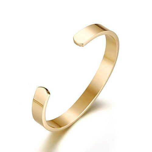 YAZILIND Titan Stahl Armband westlichen Punk-Stil Glatte offene Armreif für Männer Durchmesser 59mm (Gold)