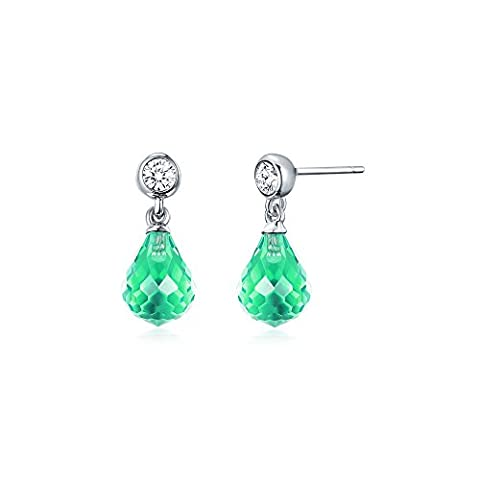 MYJS Frosted Droplet Hanging Drop Earrings Rhodium Plated with Peridot Teardrop Crystals