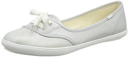 Keds Damen Teacup Metallic Linen Silver Geschlossene Ballerinas, Silber, 37 EU Keds Sneakers Slip