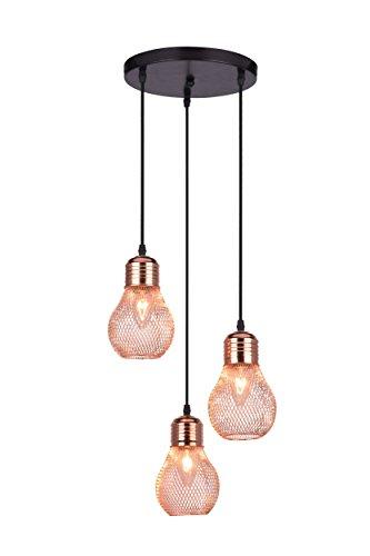 Hängelampe Rose Gold | 3 - Flammig | Moderne Deckenleuchte | Hängeleuchte | Deckenlampe | Lounge |...