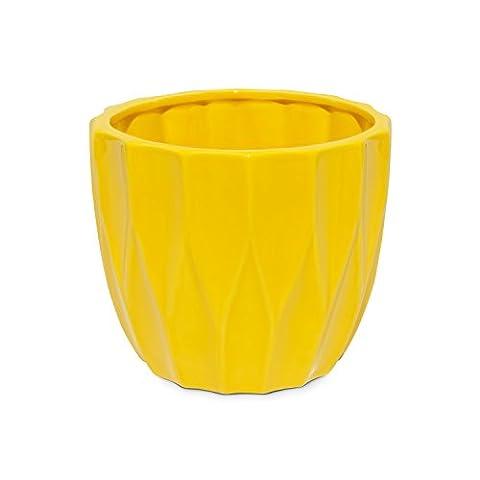 Blumentopf gelb glänzend Keramik Topf übertopf H-130mm geometrische
