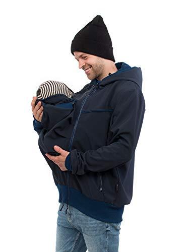 Explorer Marine (Viva la Mama - Jacke mit Trageeinsatz für Papa + Baby, Männer Softshelljacke Babytragen, Tragejacke Mann Allwetter - Explorer - Marine blau - L)