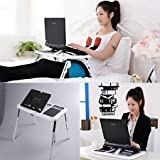 #5: Gulwan (TM) E-Table, Portable Adjustable Height Laptop Desk Fit All Kind Laptop with 2 USB Cooling Fans