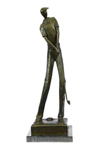Rare Sculpture en bronze à la main Bronze Statue Jean Patou solide golfeur. Résumé Art Déco Signée Marbre Figure-EUxnab-023- collection Décor cadeau