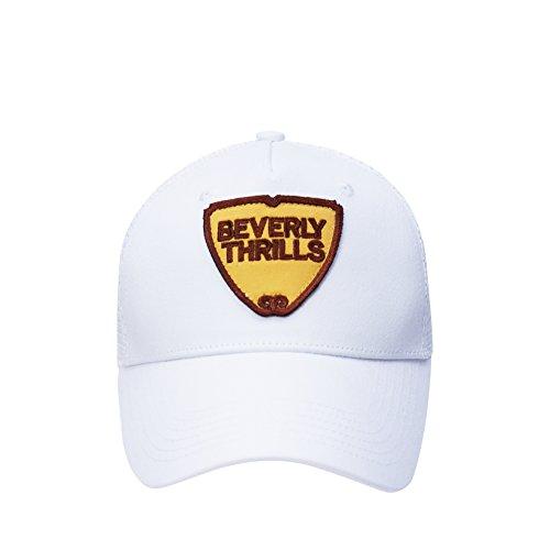 Trucker Cap Herren Damen Weiss Beverly Thrills Mesh Baseball Snapback einstellbar LA Los Angeles US Style Einheitsgröße USA Patch Outdoor mit Netz edel OneSize (Weiß)
