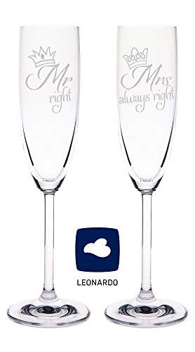 Leonardo Sektgläser Mr. Right & Mrs. Always Right - Sektgläser zur Hochzeit - Hochzeitsgeschenke für Brautpaar - Lustige Geschenkidee