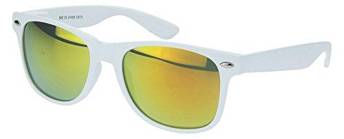 Sense42 | Retro Sonnenbrille | Vintage-Look für Damen und Herren | verspiegelte Gläser | mit Federscharnier-Bügel | weiß, blau, gold, grün, orange, - Herren Grün Weiser Mann Kostüm