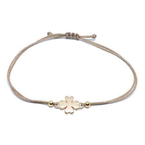 Glücksarmband - Kleeblatt Armband Rosegold auf braunem Band - SelfmadeJewelry Glücksbringer HANDMADE