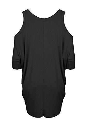 Janisramone Nouveau Femme Haut avec épaules nues manches courte Sexy Long Haut, épaules nues top haut évasée Noir