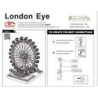 Model Kit Metal Nano 3D Lazer Kesim London Eye Dönme Dolap Gümüş Rengi