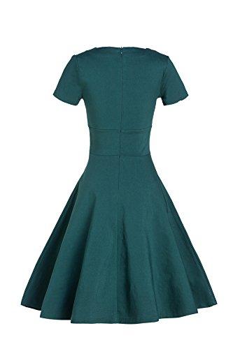 Gigileer Vintage 50er Damen Swing Kleider festliche Cocktail Hochzeit Abendkleid Knielang gruen L -