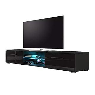Edith - meuble TV (140cm, Noir Mat / Noir Brillant avec l'éclairage LED bleue)