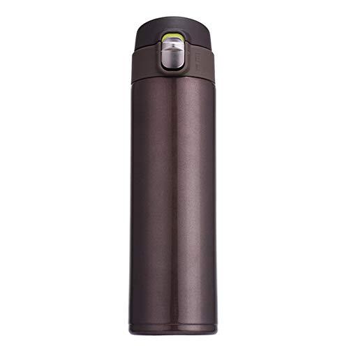 Neue Medizinische Peelings (LYXQQ Neue Edelstahl-Isolierflasche,Doppelte Vakuumkaffeetasse,Springdeckel,Kreatives Auto-Wasserglas,Outdoor-Sport-Wasserbecher 480Ml,Brown)