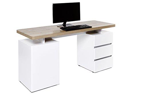 Movian, scrivania con 3 cassetti e sportello, colore bianco / quercia 'Riviera'