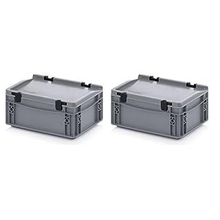 2x Eurobehälter-Eurobox 30 x 20 x 13,5 cm mit Scharnierdeckel inkl. gratis Zollstock 2er Set