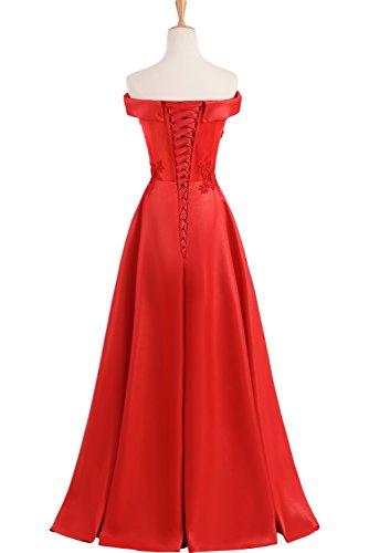 TOSKANA BRAUT Elegant Neu 2017 Satin Applikation Abendkleider lang Promkleider Partykleider Rot