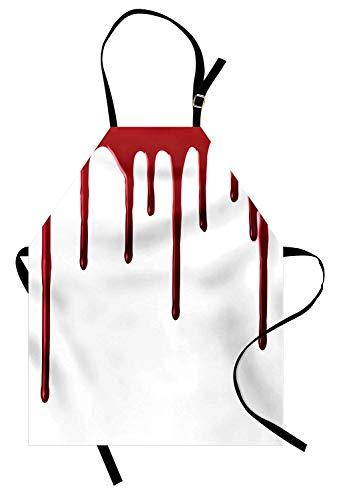 Horror-Schürze, Fließendes Blut Horror Spooky Halloween-Zombie-Verbrechen beängstigend Helfen Sie mir themenorientierte Illustration, Unisex-Küchenschürze mit verstellbarem Hals zum Kochen Backen ()
