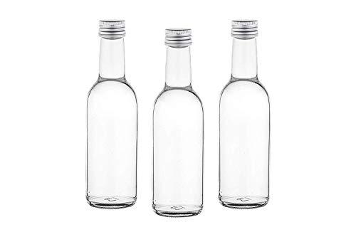 Bonita botella de cristal para rellenar licores, vinagre, aceites, etc. 6,12,20,24 o 40 unidades botellas de cristal vacías 250 ml BO botellas de zumo con cierre de rosca botellas para rellenar incluso 0,25 litros botellas de licor, botellas de licor...