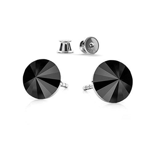 """Crystals&stones - orecchini da uomo """"rivoli"""", in argento sterling 925 e con cristalli swarovski elements, colore: """"jet"""" (nero), confezione regalo inclusa (gwt/8 pin/75)"""