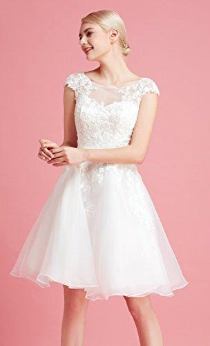 Brautkleid Knielang Weiß mit Stickereien - 3
