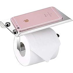 Stilvoller Toilettenpapierhalter aus rostfreiem Edelstahl, mit Ständer für Mobiltelefon, Wandmontage, Badezimmerzubehör von BTSKY, Thin