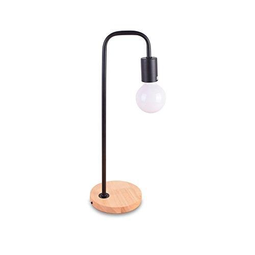 Lampe de table Nordique Moderne 110 V 220 V Bois Simple Chêne Bois Fer Bureau Lampes Lampe De Lecture Lumière du Côté pour Chambre Étude (Couleur : Noir)
