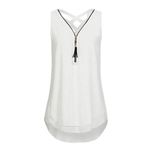 VJGOAL Damen Tank Top, Damen Lose ärmellose Tank Top Kreuz zurück Saum Layed Zipper V-Ausschnitt T Shirts Tops Geschenk der Frau (XXXL, Weiß)