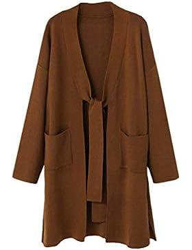 Mujer Abrigos Elegante Moda Sweater Otoño Invierno Bandage Joven con Bolsillos Manga Larga Abiertas Color Sólido...