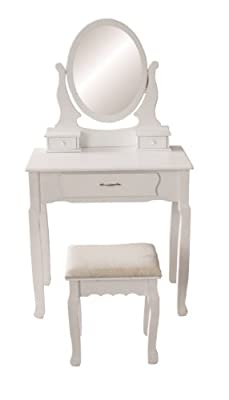 Jasmine White Dressing Table Set With Adjustable Oval Mirror And Stool, Bedroom Make Up Furniture - low-cost UK dressing table shop.