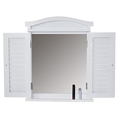 Wandspiegel Spiegelfenster mit Fensterläden ~ weiß shabby