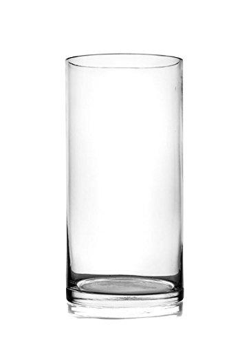 Jarrón de cristal transparente, 25 cm de alto, hecho a mano