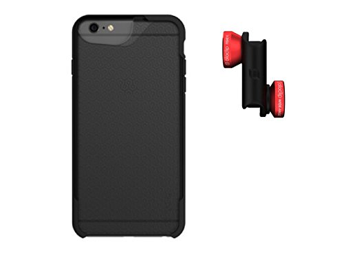 olloclip 4-IN-1 Photo Lens + olloCase for iPhone 6/6s - Lens: Red/Black - Case: Matte Smoke/Black Bumper