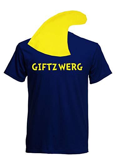Alkohol Gruppe Kostüm - aprom Zwergen T-Shirt Kostüm mit Mütze div. Motive zur Auswahl - Fasching JGA Sheriff Gruppenkostüm Karneval Zwerg (XL, Navy - Giftzwerg)