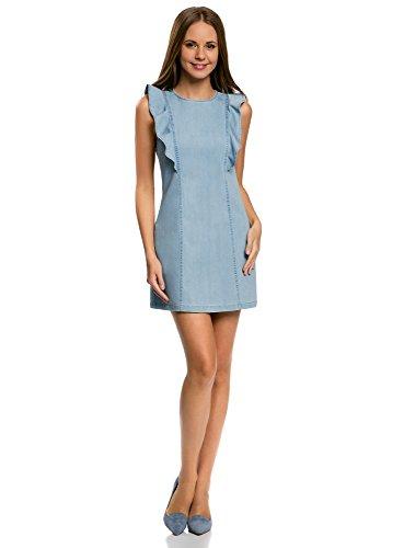 oodji Ultra Damen Jeanskleid mit Volants und Reißverschluss, Blau, DE 40 / EU 42 / L
