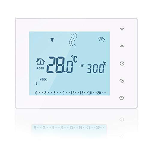 ose Programmierbarer Gas Kessel LCD Raum Thermostat mit Receiver, Smart Wireless Temperatur Controller für Gas Boiler Heizung System, Akku-Powered Standing & Wand Hängen, Weiß ()