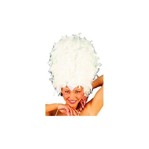 –Kostüm für Erwachsene Kopfbedeckung aus Federn mit Pailletten, Weiß, Einheitsgröße (Rio Karneval Kostüme Vögel)
